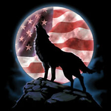 American Wolf Howling At The Moon USA United States Flag Patriotic T-Shirt Tee