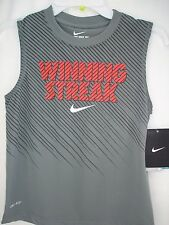 Nike Little Boys Tank Top Dri Fit Muscle Grey Athletic Size 5 Sleeveless NWT