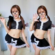 Sexy Women Maid Costume Cosplay French Maid Lingerie Outfit Babydoll Mini Dress