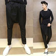Korean fashion punk mens casual loose Harem Pants wide leg crotch magician pants