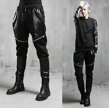 Korean fashion punk Pu leather zip mens casual hip hop stylish Harem Pants sport