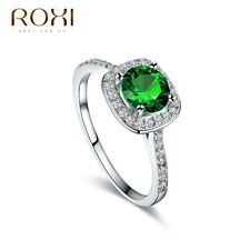 18K White Gold Plated Emerald Crystal Ring Women Engagement Fashion Jewelry