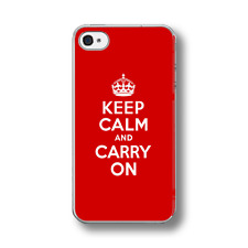KEEP CALM AND CARRY ON RED Rubber  Phone Case FITS IPHONE MODELS.