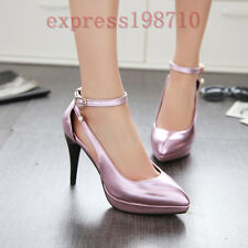 Womens high heels pointed toe ankle straps platform stilettos fashion date shoes