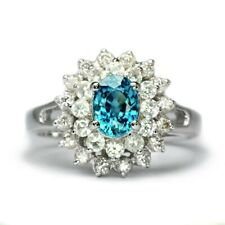 7x5mm Natural Blue Zircon Ring With White Zircon in 925 Sterling Silver
