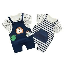 0-4Y Baby Toldder Boy Girls Summer Cotton Printing Top+Braces Pants Set Outfits