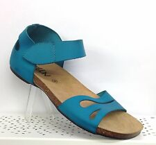 OXYGEN DIANA TURQUOISE FLAT LEATHER SANDALS WIDE ANKLE STRAP CORK FOOTBED