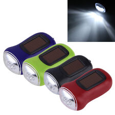 &Mini Portable Hand Crank Dynamo 3 LED Solar Powered Flashlight Camping Torch@!S