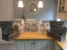 Wooden Crate Storage Boxes Handles white, grey or wood Shabby Chic vintage  New