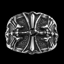 Mens Silver Black 316L Stainless Steel Cool Punk Biker Gothic Cross Floral Ring