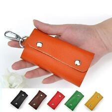Genuine Cow Leather Woman Lady Man Unsex Door Car Key Chain Ring Case Holder Bag