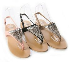 WOMENS LADIES FLAT ANKLE STRAP DIAMOND GLADIATOR SUMMER SANDALS SIZE3-8