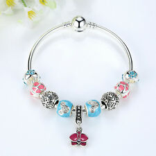 New European MURANO GLASS BEAD LAMPWORK Orchid Flower Dangle Charm Bracelet