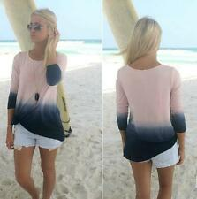 Fashion Long Sleeve Blouse Round Collar Top Beautiful Gradient Color