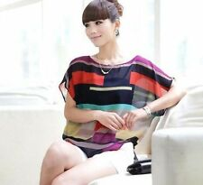 Women Casual Tops ColorfulStriped Sleeve Short Sleeve New Summer Bat T-shirt