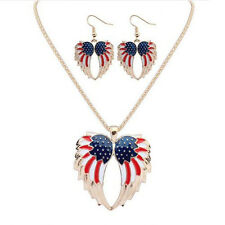 Drip  Necklace Hot Resin Stars and Stripes Jewelry Sets Earrings Wings Bohemia