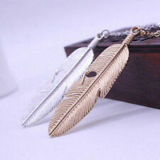 Feather Long Women Necklace Sweater Vintage Statement Pendant Chain Jewelry