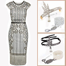 Vintage 1920s Flapper Dress Gatsby Charleston Sequin Party Costumes UK Plus Size