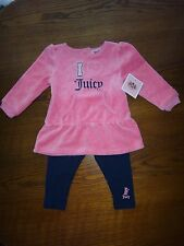 JUICY COUTURE~2PC SET~Baby Girl's Pink Velvet Dress Leggings~3-6M, 6-12M, 18-24M