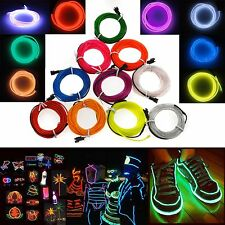 1M-5M Colorful Flexible EL Wire Tube Rope Neon Light Glow Car Party Decor 0!S