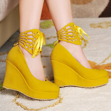 Womens High Heel Wedge Platform Lace Up Ankle Strap Pumps Faux Suede Roma Shoes