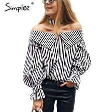 Simplee Women Off Shoulder Striped Blouse Shirt Casual Loose Summer Choker Tops