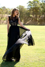 NEW Black Lace with Nude Lining Formal Dress Prom Maxi Evening Gown Ballgown