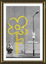 FRAMED Poster Flower Banksy Wall Art Pictures Framed Art Framed Decor