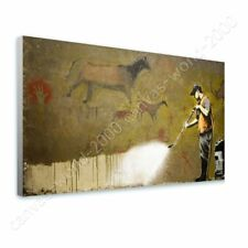 Alonline Art - READY TO HANG CANVAS Wall Cave Painting Powerwash Banksy Frame