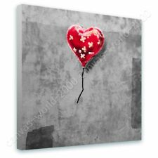 Alonline Art - READY TO HANG CANVAS Balloon Heart Plaster Banksy Framed Print