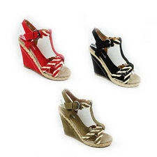 WOMENS LADIES SUMMER STRAPPY HIGH WEDGE HEEL ESPADRILLES SANDALS SHOES SIZE 3-8
