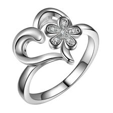 NEW Love Heart Flower 925 Silver Plated Ring Band Open Wrap Jewelry Fashion Gift