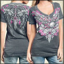 Sinful Allaura Eagle Stars Stripes Wings Womens V-Neck T-Shirt Black Burnout NEW