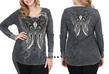 Plus Vocal Black Mineral Wash Angel Wings Tattoo Thermal T Shirt Fleur De Lis