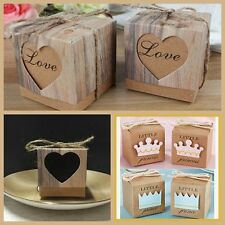 50Pcs Anniversary Supply Candy Gift Bags Party Favour Boxes Brown Kraft Paper