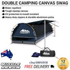 New Double Camping Canvas Swag Free Stand Dome Tent Mattress Air Pillow Outdoor