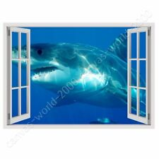 READY TO HANG CANVAS Shark Under The Water Fake 3D Window For Bedroom