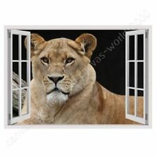 Alonline Art - READY TO HANG CANVAS Lion Fake 3D Window Oil Painting Print