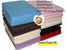 New Flannelette 100% Brushed Cotton Duvet/Fitted/Flat Bed Sheets and Pillows