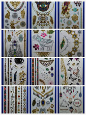 Wholesale 12 Packs Metal Temporary Tattoos Flower Butterfly Wing Feather,etc