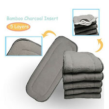 Baby Reusable Washable Cloth Bamboo Charcoal Diaper Nappy Microfiber Insert