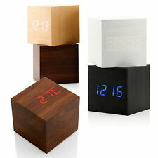 Nice Wooden Wood Digital LED Desk Alarm Clock Thermometer Timer Calendar UL