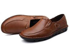 Mens Loafers leather  Slip On Casual Dress moccasins driving Shoes#BLACK/BROWN