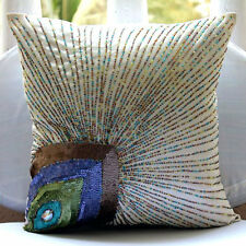 Peacock Feather Ivory Silk 55x55 cm Decorative Cushion Covers - Peacock Beauty