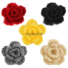20pcs 3-layer 5cm Handmade Crochet Flowers Appliques Sewing Craft 5 Color