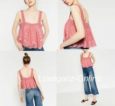 ZARA EMBROIDERED TOP PINK FLORAL FLOWING BLOUSE STRAPPY LACE SIZE M MEDIUM NEW