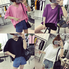 Women Student V Neck Solid Short Sleeve Casual Loose Batwing T Shirt Blouse Tops