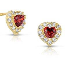 14k Yellow Gold Cubic Zirconia CZ and Simulated Birthstone Heart Stud Earrings