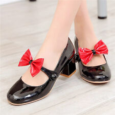 5colors Womens Casual Shoes Round Toe Mary Janes Lolita Oxfords Mid Heel Pumps
