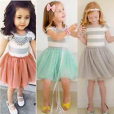 Kids Baby Girls Princess Striped Party Dress Tulle Tutu Skirt Outfits 1-6Y